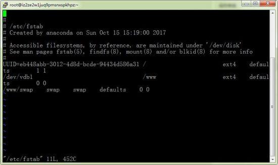 Linux /etc/fstab 无法修改解决方法